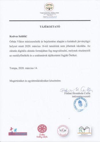 iskola tajekoztato koronavirus 20200316